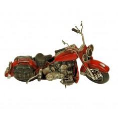Maqueta metal moto Harley roja peq.