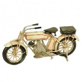 Maqueta metal moto antigüa crema
