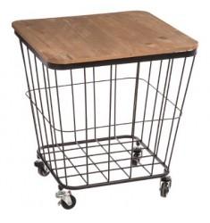 Mesa con ruedas negra tapa madera 39x39xH43