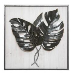 Cuadro madera metal hojas 48x48cm