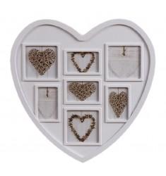 Portafoto multiple 7 blanco corazón