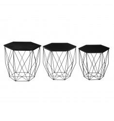 Set 3 mesas metal octogonales