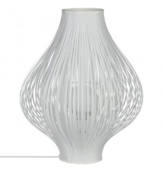 Lampara blanca poliester y metal 45x34cm diametro
