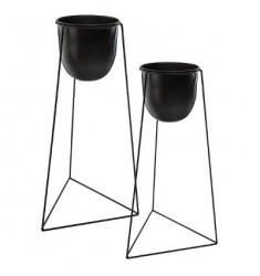 Set 2 macetas con soporte metalico 60x25 y 50x22cm