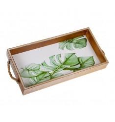 Bandeja de madera rectangular hojas