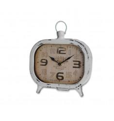 Reloj sobremesa metal 19x20x5cm blanco