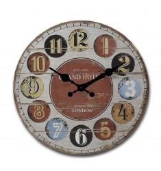 Reloj redondo pared madera 58cm.