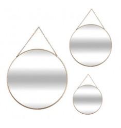 Set 3 espejos redondos ORO metal neg 29-24-20cm