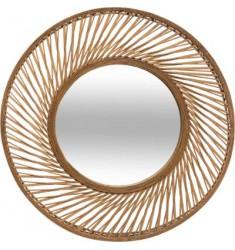 Espejo redondo espiral bambú 72cm.