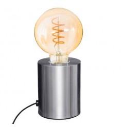 Lámpara metal tubo plata Alto 10cm- D 9cm