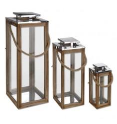 Set 3 faroles madera 70-51 y 34cm.
