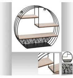 Estante Madera Pared Metal Redondo Negro 40x36cm