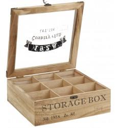 Caja de the madera 9 compartimentos 24x24x8.5 cm.