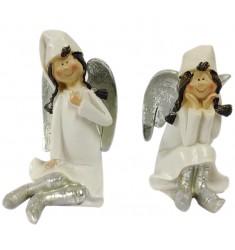 Angel niña sentada blanco-plata