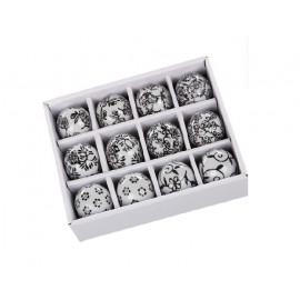 Bolas ceramica hojas blanco-negro